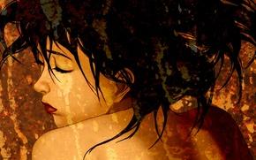 Картинка лицо, плечи, art, закрытые глаза, Satoshi Kon