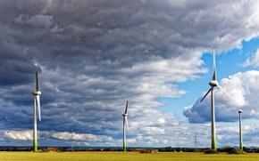 Картинка поле, облака, ветряки, солнечно, лэп