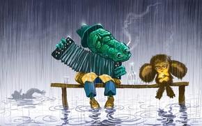 Картинка грусть, мультфильм, 158, Чебурашка, крокодил Гена