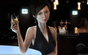 Картинка девушка, украшения, бокал, бар, арт, азиатка, henry chua