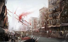artem borisov, город, канал, победа, самолет, дома, ленты обои