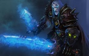Обои оружие, взгляд, варкрафт, рыцарь смерти, WoW, клинок, World of Warcraft, Death Knight, art, меч