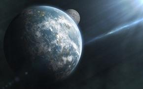 Картинка космос, звезды, планета, спутник, солнечные лучи
