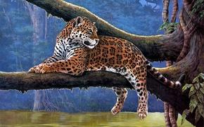 Картинка животные, река, дерево, Jaguar, ветка, ягуар, живопись, лианы, Raymond Reibel
