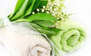 Картинка цветы, полотенце, ландыши, flowers, spa, towel, lilies