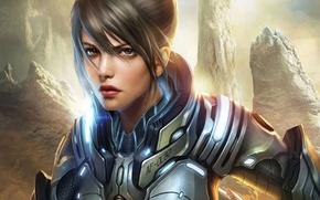 Картинка девушка, металл, скалы, арт, броня, Tsukihime, REBORN