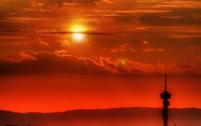 Обои солнце, облака, вышка