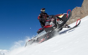 Картинка горы, прыжок, Снег, Snow, снегоход, Polaris, snowmobile, Полярис