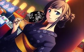 Картинка девушка, веер, арт, кимоно, yumemizuki