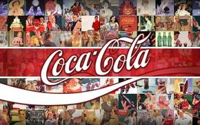 Картинка фон, логотип, реклама, напиток, классика, Coca-Cola, брэнд