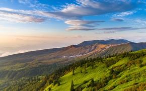 Картинка Небо, Природа, Облака, Горы, Трава, Швейцария, Холмы, Пейзаж