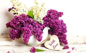 Картинка flowers, сирень, spring, purple, vase, bouquet, romance, with love, lilac