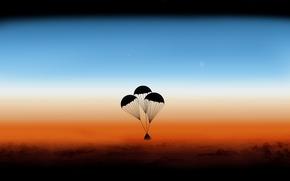 Картинка атмосфера, капсулы, Orion, парашюты