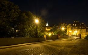Картинка дорога, деревья, ночь, огни, дома, Польша, фонари, мостовая, Lublin, Люблин