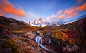 Картинка осень, горы, река, скалы, дервья, Патогония