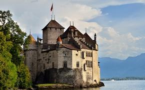 Картинка горы, озеро, замок, Швейцария, Montreux, Chillon Castle