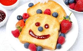 Обои ягоды, малина, хлеб, тост, голубика, рожица, клубника