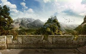 Обои небо, горы, птицы, стена, деревня, 151, Руины, Балкон