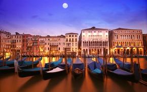 Обои вода, свет, отражение, река, луна, здания, дома, лодки, вечер, освещение, фонари, канал, архитектура, полнолуние, italia, ...