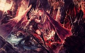 Картинка Girl, red, Sexy, Art, armor, Warrior, hair, Angel, Woman, Knight, Redhead, Sword, hairs, Painting, Warrioress