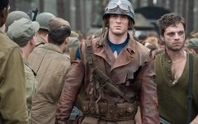 Обои Sebastian Stan, куртка, шлем, Крис Эванс, Себастьян Стэн, солдаты, комикс, очки, Первый мститель, оружие, Captain ...