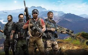 Обои Небо, Облака, Горы, Взгляд, Оружие, Ubisoft, Вертолёт, Южная Америка, Экипировка, Ubisoft Entertainment, Призраки, Отряд, Ghost ...