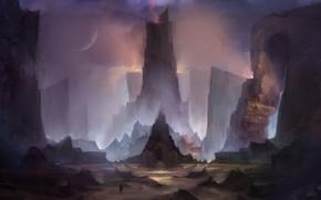 Картинка ночь, скалы, луна, молния, человек, арт, нарисованный пейзаж
