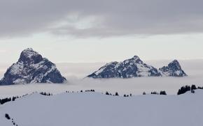Картинка облака, горы, безмятежность, mountains, clouds, serenity, дом сверху, house on top