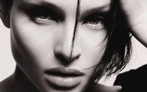 Картинка глаза, девушка, лицо, черно-белый, портрет, брюнетка, губы, певица, Софи Эллис-Бекстор, Sophie Ellis-Bextor