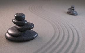 Картинка песок, линии, камни, арт, пирамидка, бороздки