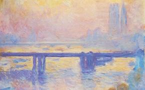 Картинка картина, городской пейзаж, Клод Моне, Мост Чаринг-Кросс