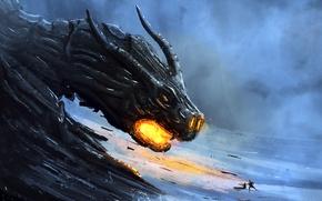 Картинка люди, фантастика, дракон, арт, рога, огнедышащий