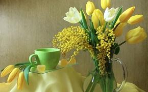 Картинка цветы, натюрморт, чашка, мимоза, кувшин, тюльпаны, мармелад