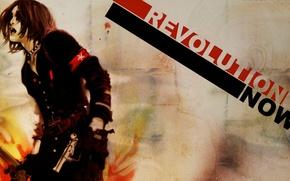 Картинка стена, звезда, перчатки, чёрная, форма, парень, ремень, крик, лохматый, револьверы, Benjamin, Zhang Bin, Now Revolution, …