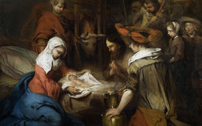 Картинка картина, религия, миф, Фабрициус Барент, Поклонение Пастухов