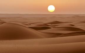 Картинка горизонт, солнце, пустыня, песок