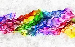 Картинка радуга, неон, шелк, складки, разноцветный, развевается