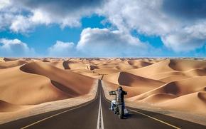 Картинка дорога, песок, барханы, путь, холмы, коллаж, пустыня, фотошоп, мотоцикл, мотоциклист, photo, photographer, Andrés Nieto Porras