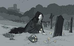 Картинка цветы, птицы, замок, могилы, Девушка, monochrome