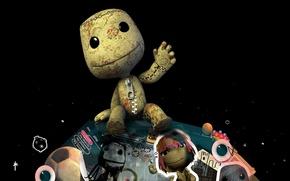 Обои игра, планета, большая, game, Little Big Planet, маленькая, компьютерные игры, sackboy, видео игры, pc game