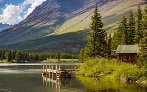 Картинка горы, мостик, деревья, Montana, Hike Lake, озеро, домик, небо, Glacier National Park, США