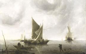 Картинка картина, парус, морской пейзаж, Ян ван де Капелле, Корабли на Якоре в Спокойном Море