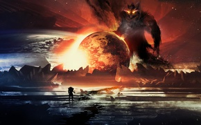 Картинка планета, свечение, monster, art