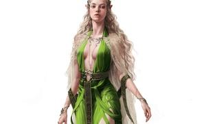 Картинка взгляд, украшения, фон, арт, эльфийка, фэнтази, зеленое платье
