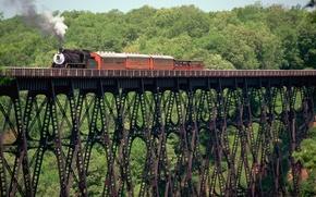 Картинка деревья, мост, дым, паровоз, вагоны, старинный