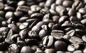 Картинка макро, фон, widescreen, обои, настроения, кофе, зерна, wallpaper, кофейные зерна, широкоформатные, background, coffee, полноэкранные, HD ...