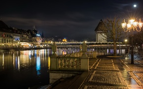 Обои Швейцария, дома, луна, огни, Lucerne, ночь, фонари, небо, набережная, река