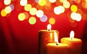 Картинка красный, тепло, огонь, свечи, декор