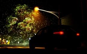 Картинка Авто, Ночь, Фонарь