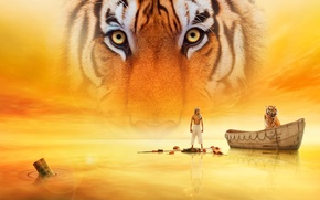 Картинка вода, тигр, фильм, Жизнь Пи, Life of Pi